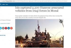 ИГИЛ захватил 2,300 бронемашин Хамви у иракских сил в Мосуле