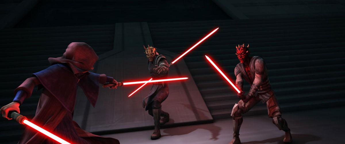 Дарт Мол и его брат Опресс сражаются с Сидиусом