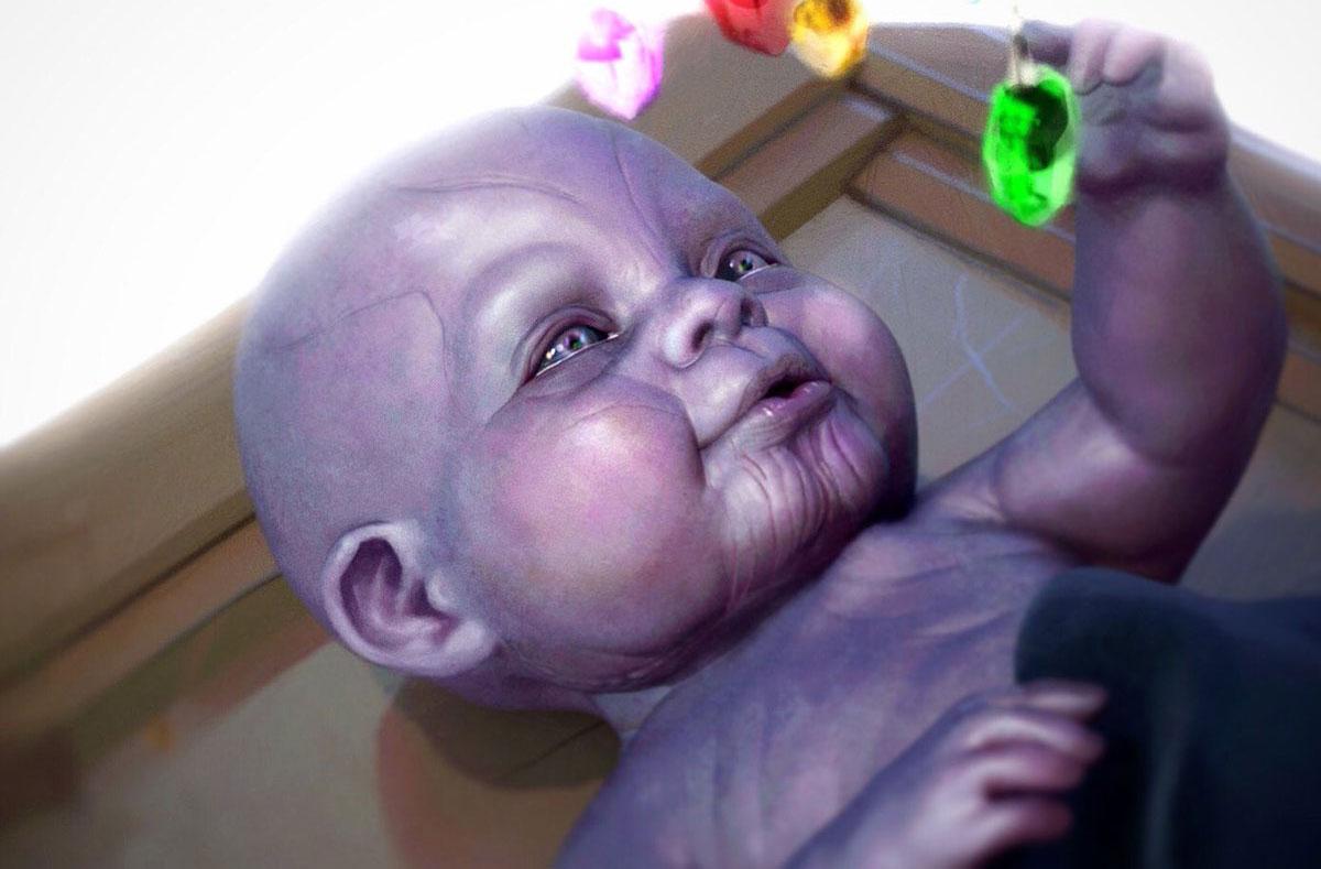 Танос в младенчестве - шрамы от мутации с самого рождения