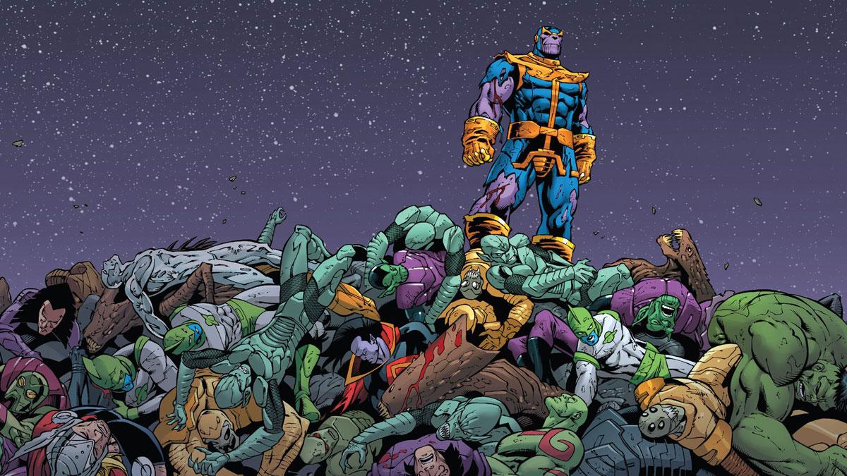 Танос в комиксах на горе поверженных врагов
