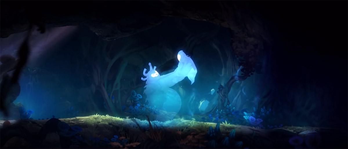 Нару вместе с отцом в игре Ori and the Blind Forest
