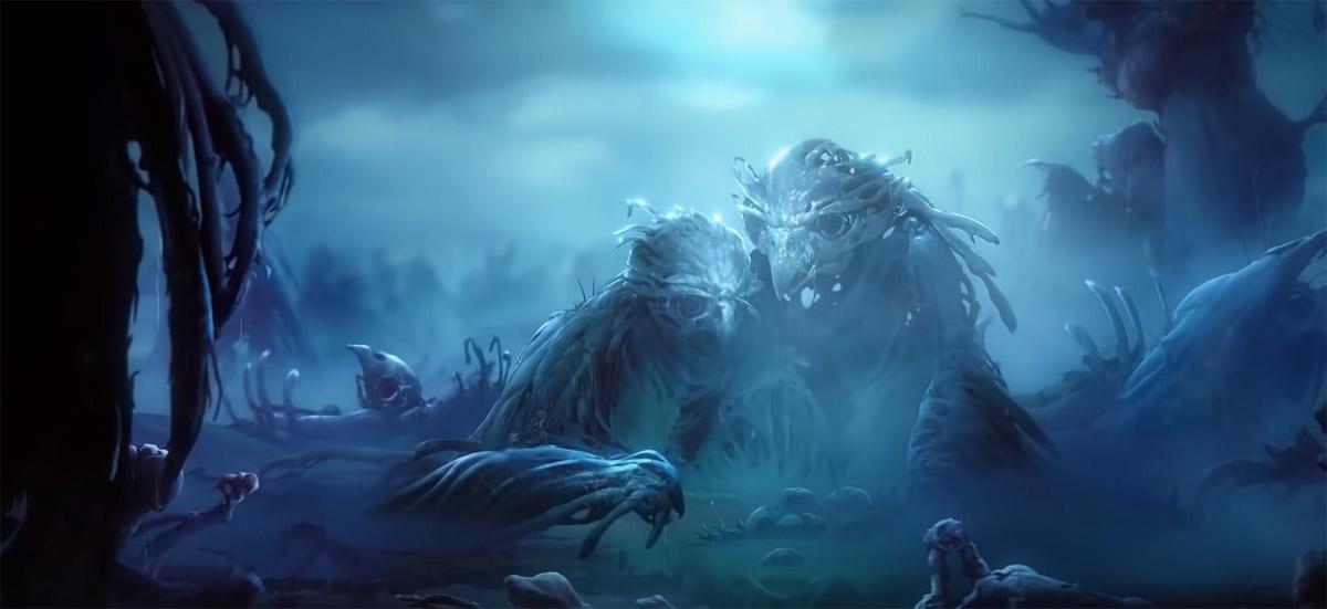 Окаменевшие совы в тихом лесу в игре Ori and the Will of the Wisps