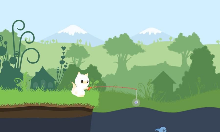 Мультяшная игра о рыбалке: Cat goes fishing (Кот идет на рыбалку)