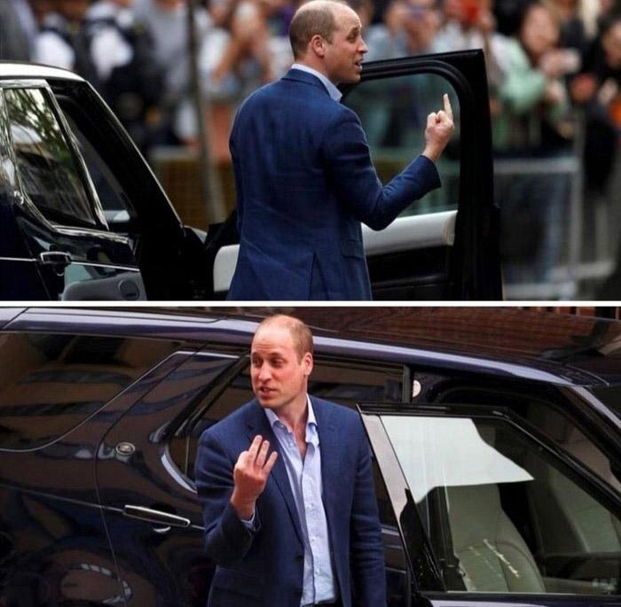 Принц Уильям показывает средний палец, или нет?